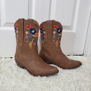 Call It Spring Floral Embroidered Mid-Calf Boots